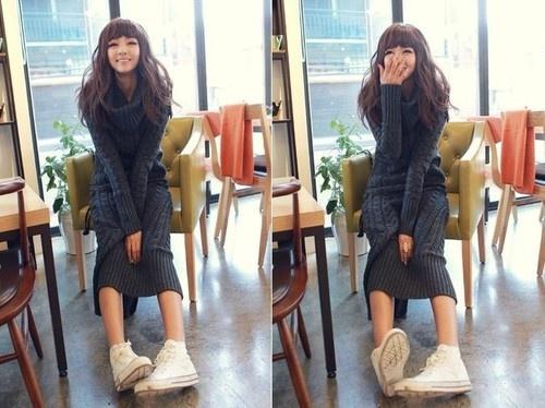 С чем носить длинное шерстяное платье