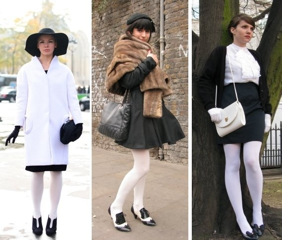 Что носить с белыми чулками