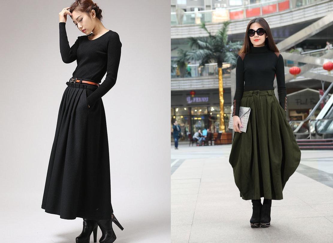 Теплые трикотажные юбки