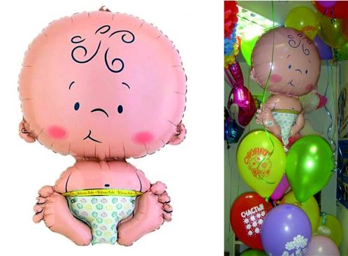 Открытка с малышом и шариками