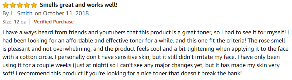 отзыв на тоник для снятия макияжа Thayers на amazon